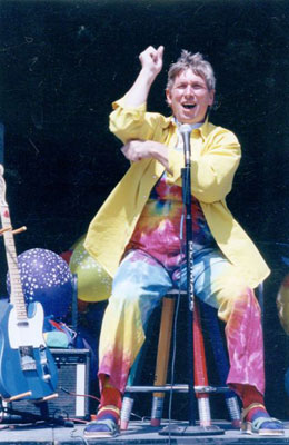 Jim performs on stage